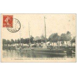 carte postale ancienne 14 OUISTREHAM. Un Aviso-Torpilleur Canal de Caen à la Mer 1906
