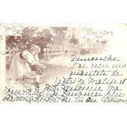 PARIS. Exposition du Village Suisse en 1900. Une Blanchisseuse carte postale ancienne timbrée en 1900