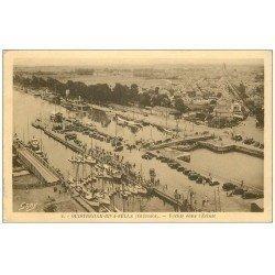 carte postale ancienne 14 OUISTREHAM. Yachts dans l'Ecluse 1939. Timbre manquant