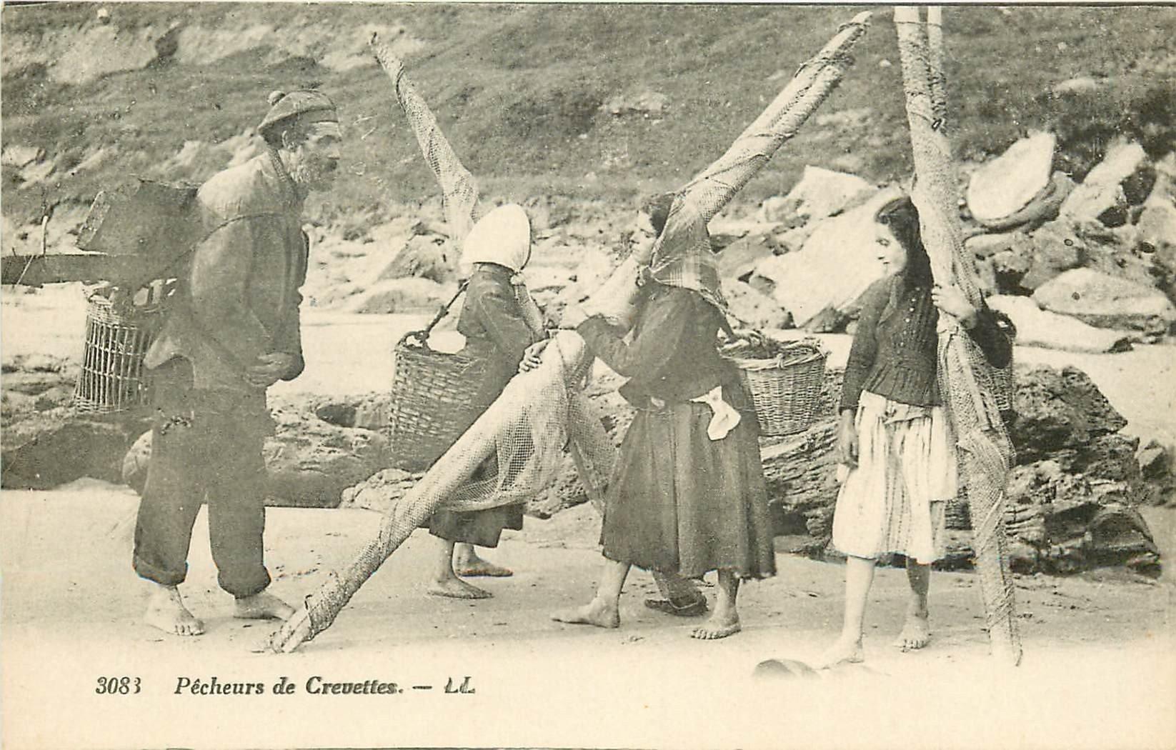 62 METIERS DE LA MER. Pêcheurs et Pêcheuse de Crevettes. Poissons et Crustacés