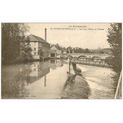 carte postale ancienne 14 PONT-D'OUILLY. L'Orne et l'Usine