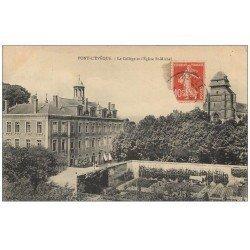 carte postale ancienne 14 PONT-L'EVÊQUE. Collège et Eglise 1915