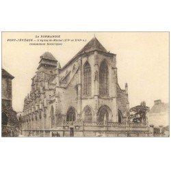 carte postale ancienne 14 PONT-L'EVÊQUE. Eglise Saint-Michel animation
