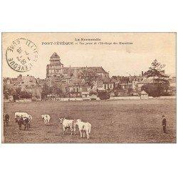 carte postale ancienne 14 PONT-L'EVÊQUE. Herbage des Humières 1928 Vaches et Gardien