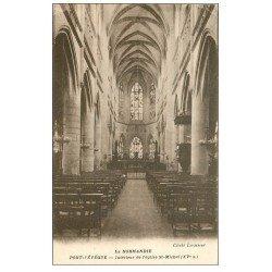 carte postale ancienne 14 PONT-L'EVÊQUE. Intérieur Eglise