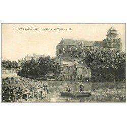 carte postale ancienne 14 PONT-L'EVÊQUE. Promenade en barque sur la Touques. Carte déliassée finement...