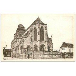 carte postale ancienne 14 PONT-L'EVÊQUE. Restaurant et Eglise