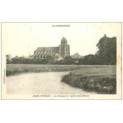 carte postale ancienne 14 PONT-L'EVÊQUE. Touque et Eglise