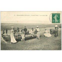 carte postale ancienne 14 RIVA-BELLA. Barque de Pêcheur à Marée basse 1913
