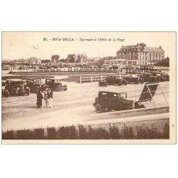 carte postale ancienne 14 RIVA-BELLA. Belles voitures Esplanade et Hôtel de la Plage 1934