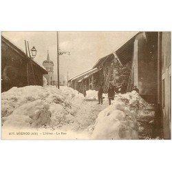 carte postale ancienne 01 Brénod. La Rue en hiver