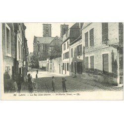 carte postale ancienne 02 LAON. La Rue Saint-Martin 1919