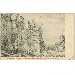 carte postale ancienne 95 AMBLEVILLE. Le Château que traverse l'Auflette 1912