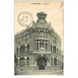 carte postale ancienne 95 ARGENTEUIL. La Poste 1914 verso détaché d'un album...