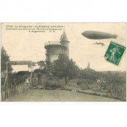 carte postale ancienne 95 ARGENTEUIL. Le Dirigeable Clément Bayard sur Restaurant du Moulin d'Orgemont