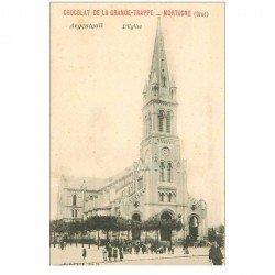 carte postale ancienne 95 ARGENTEUIL. L'Eglise. Chocolat Mortagne