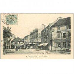 carte postale ancienne 95 ARGENTEUIL. Place de l'Eglise 1906 Quincaillerie Pharmacie Bazar et Caves Saint Georges