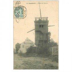 carte postale ancienne 95 ARGENTEUIL. Restaurant et Moulin de Sannois 1906