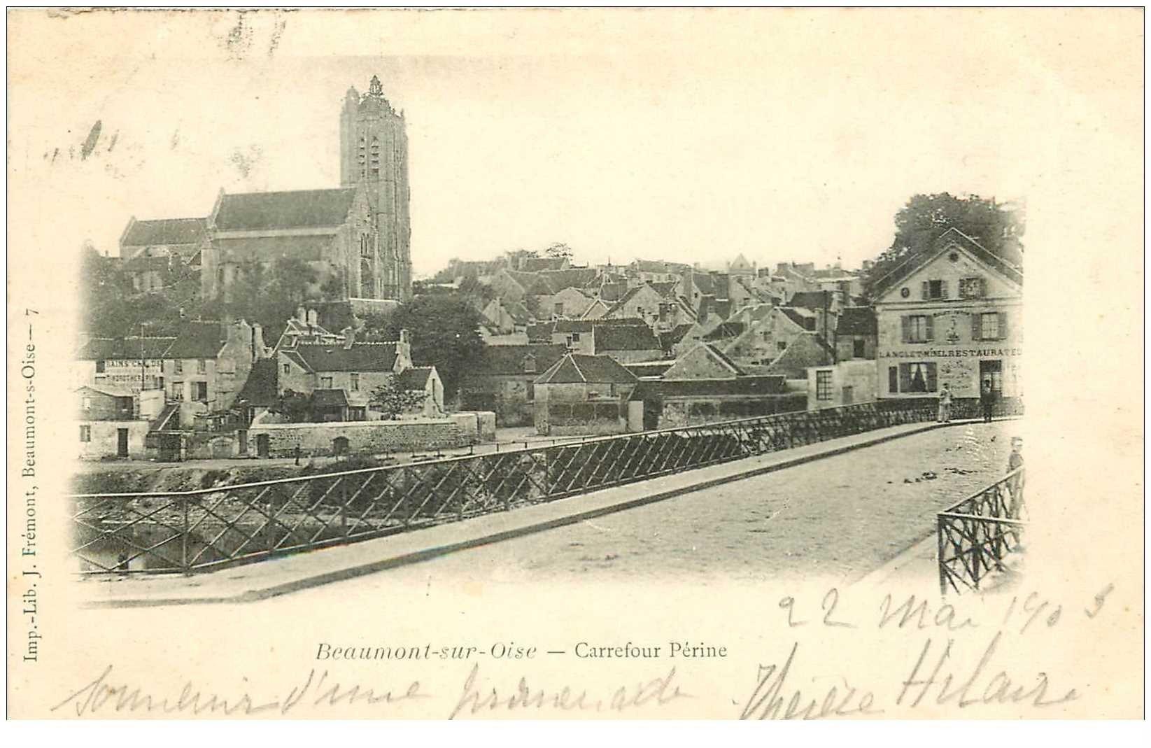 carte postale ancienne 95 BEAUMONT SUR OISE. Carrefour Périne 1903 Restaurant Langlet Minel