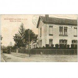 carte postale ancienne 95 BEAUMONT SUR OISE. Ecole des Filles 1933