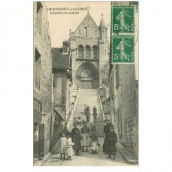 carte postale ancienne 95 BEAUMONT SUR OISE. Escalier Saint Laurent 1916 grosse animation