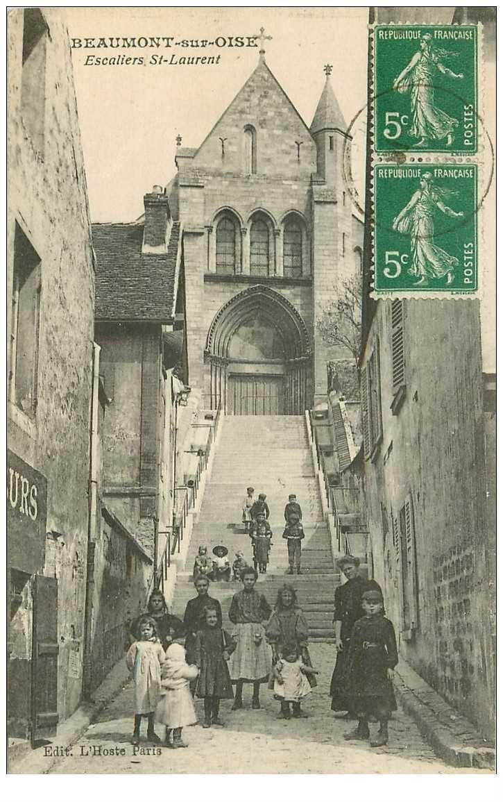 Escalier Val D Oise 95 beaumont sur oise. escalier saint laurent 1916 grosse animation