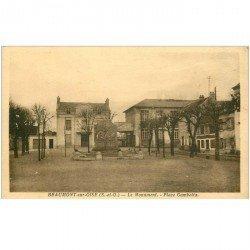 carte postale ancienne 95 BEAUMONT SUR OISE. Le Monument Place Gambetta et l'Ecole de Garçons