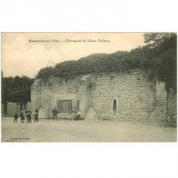 carte postale ancienne 95 BEAUMONT SUR OISE. Remparts du Vieux Château avec écoliers 1917