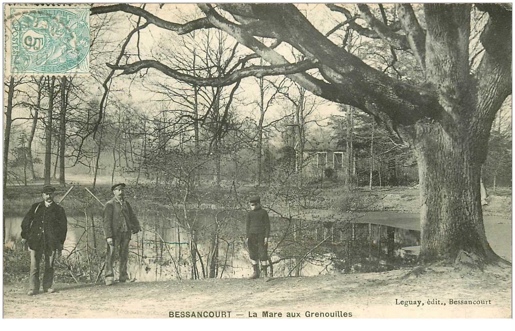 carte postale ancienne 95 BESSANCOURT. Chasseurs armés à la Mare aux Grenouilles 1906