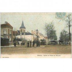 carte postale ancienne 95 BEZONS. Eglise et Place du Marché 1905 Tramway