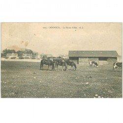 carte postale ancienne 95 BONNEUIL. La Ferme Gillet 1906 avec Vaches et Chevaux