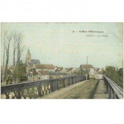 carte postale ancienne 95 CERGY. Le Village et le Pont. Plissure verticale...