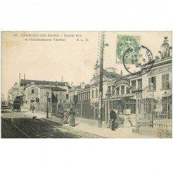 carte postale ancienne 95 ENGHIEN LES BAINS. Etablissement Thermal sur Grande Rue 1907 Pharmacie des Thermes et attelage Charvin
