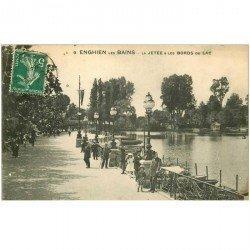 carte postale ancienne 95 ENGHIEN LES BAINS. La Jetée et bords du Lac 1913