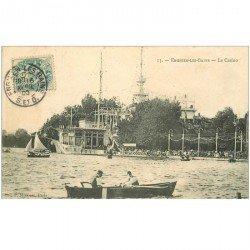 carte postale ancienne 95 ENGHIEN LES BAINS. Le Casino et Canoteurs 1906