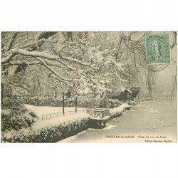 carte postale ancienne 95 ENGHIEN LES BAINS. Le Lac en Hiver 1924