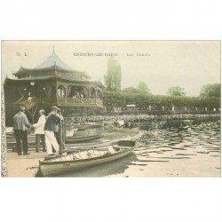 carte postale ancienne 95 ENGHIEN LES BAINS. Les Canots. Publicitaire Horlogerie Passage du Cerf à Paris