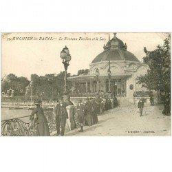 carte postale ancienne 95 ENGHIEN LES BAINS. Nouveau Pavillon et Lac 1915