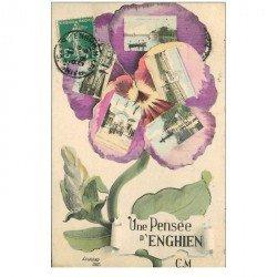 carte postale ancienne 95 ENGHIEN LES BAINS. Pensée multivues 1911