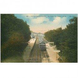 carte postale ancienne 95 ENGHIEN LES BAINS. Train sur la ligne du Chemin de Fer