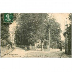 carte postale ancienne 95 MONTMORENCY. Carrefour Ermitage JJ Rousseau 1908 cycliste