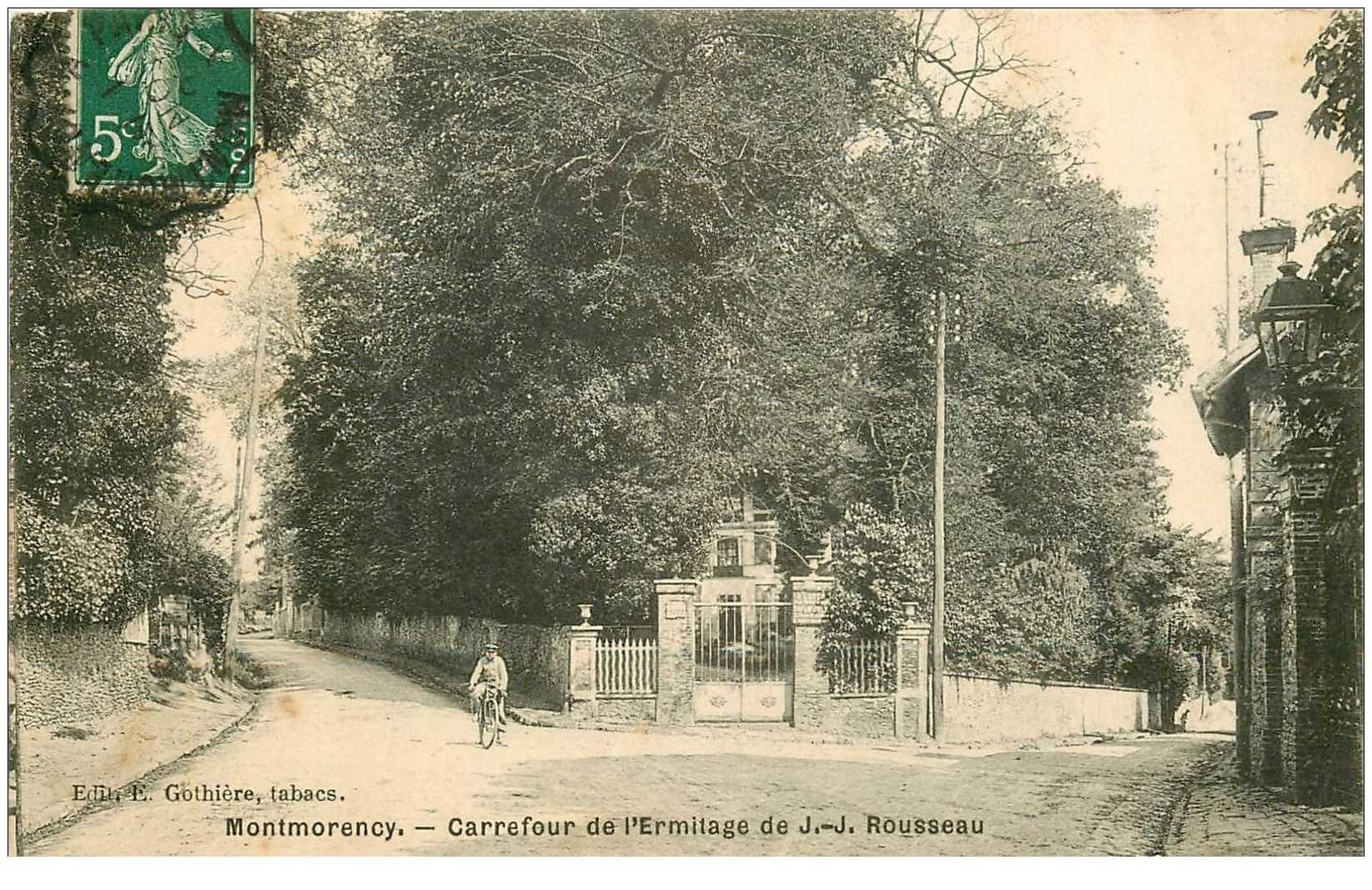 carte postale ancienne 95 MONTMORENCY. Carrefour Ermitage JJ Rousseau 1908 cycliste