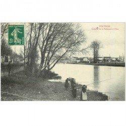 carte postale ancienne 95 PONTOISE. Chemin de la Pelouse avec Pêcheurs et Pêcheuse