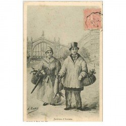 carte postale ancienne 95 PONTOISE. Couple de Paysans vendeurs 1905