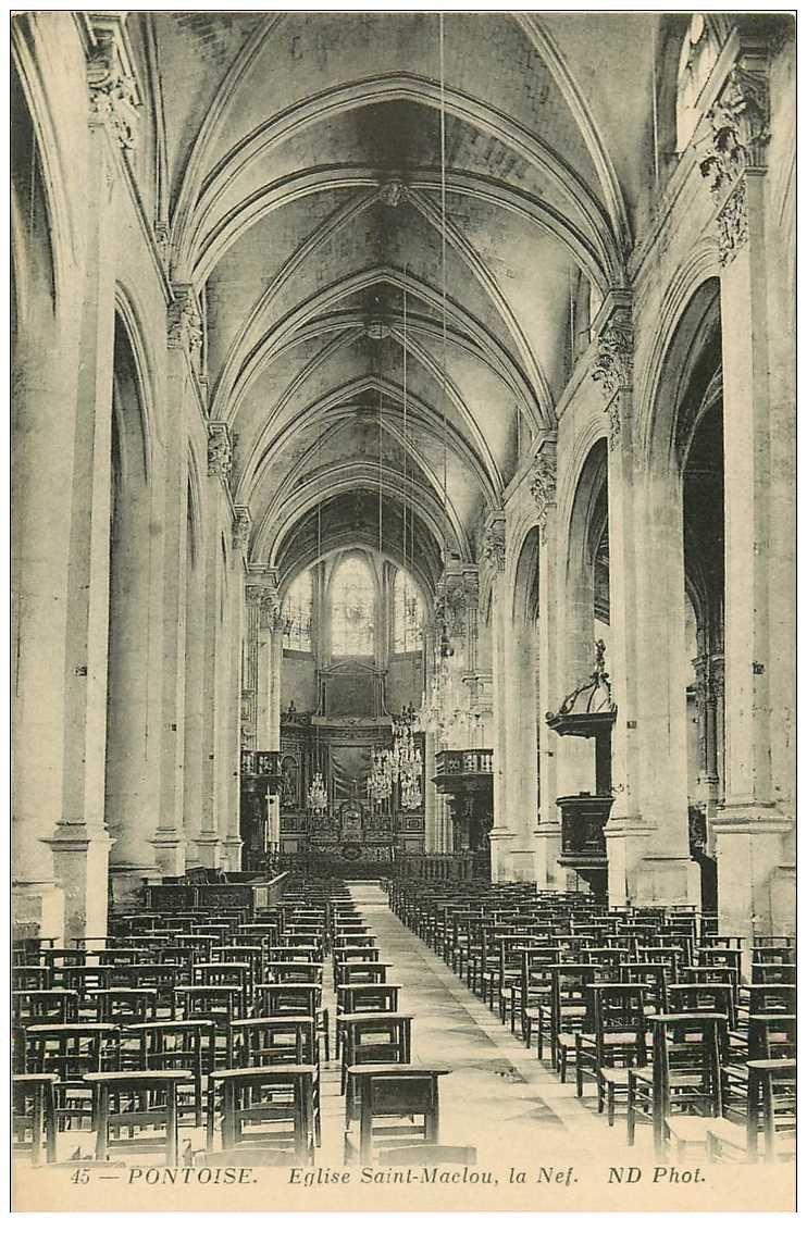 carte postale ancienne 95 PONTOISE. Eglise Saint Maclou Nef