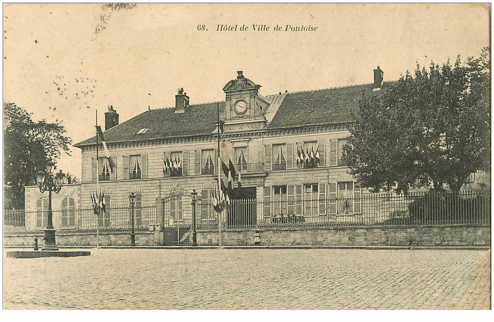 carte postale ancienne 95 PONTOISE. Hôtel de Ville 1905