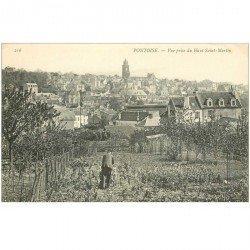 carte postale ancienne 95 PONTOISE. Jardinier sur le Haut Saint Martin