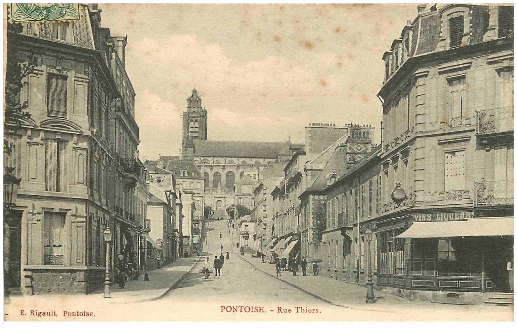 carte postale ancienne 95 PONTOISE. La Rue Thiers 1907