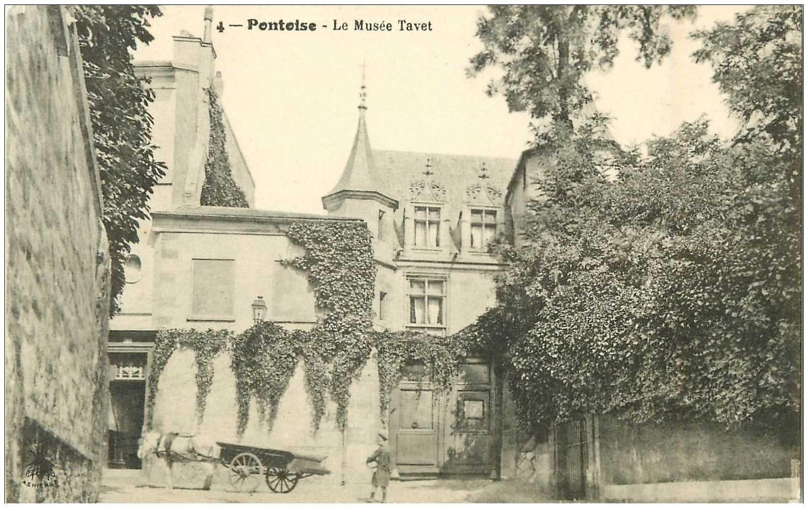 carte postale ancienne 95 PONTOISE. Le Musée Thavet et attelage 1915