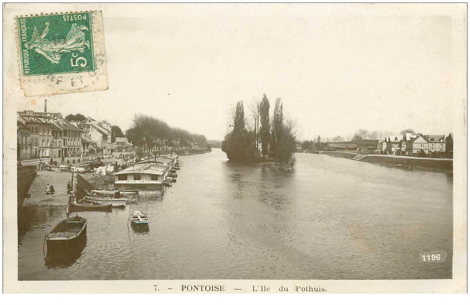 carte postale ancienne 95 PONTOISE. L'Ile de Pothuis 1915 Bateau Lavoir Camille. Carte photo Rose